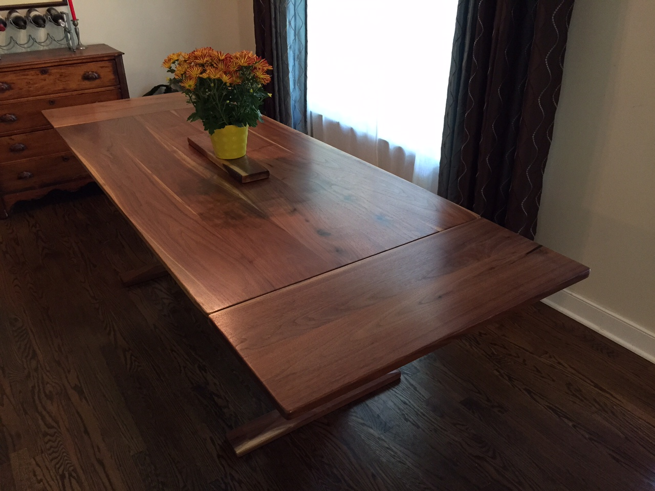 Reclaimed Walnut Trestle Table With Extensions Reclaimed