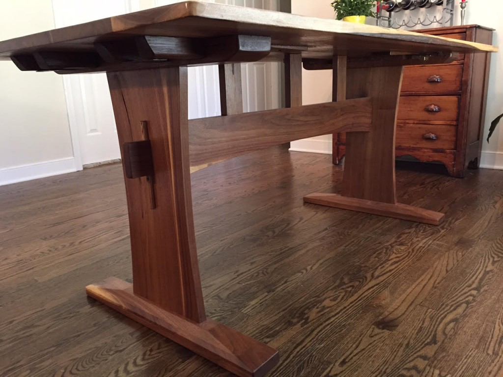 Reclaimed Walnut Trestle Table with Extensions - Reclaimed ...